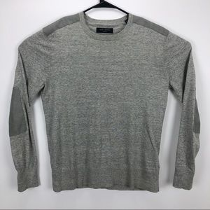 All Saints Sweaters - Allsaints Crew Patch Pullover Sweater Gray - M
